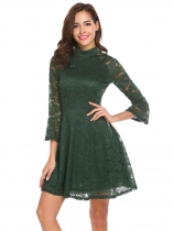 Dark green Formal Vintage Flare Sleeve Lace Swing Dress
