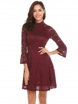 Wine red Vin rouge Femmes Vintage Style Flare manches Floral Lace Swing Party Dress