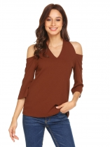 Brown Women V-Neck Cold Shoulder 3/4 Sleeve Solid Casual Blouse Top