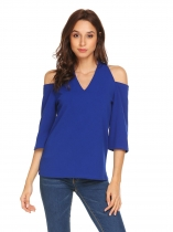 Royal Blue Mulheres V-Neck Cold Shoulder 3/4 Sleeve Solid Blouse Casual Top