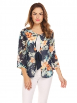 Dark blue Women 3/4 Sleeve Lace Up Floral Sheer Chiffon Summer Beach Blouse