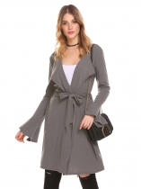 Gray Women Casual Long Trumpet Sleeve Solid Open Front Knit Cardigan with Belt