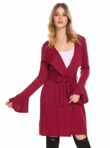 Wine red Women Casual Long Trumpet Sleeve Solid Open Front Knit Cardigan with Belt