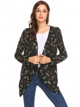 Black brown Women Long Sleeve Open Front Print Chiffon Patchwork Irregular Casual Cardigan