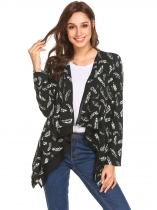 Black white Women Long Sleeve Open Front Print Chiffon Patchwork Irregular Casual Cardigan