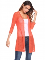 Orange 3/4 Sleeve Textured Casual Open Front Mesh Stretch Cardigan