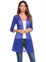 Royal Blue 3/4 Sleeve Textured Casual Open Front Mesh Stretch Cardigan