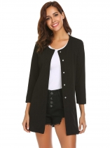 Black Women's Long Blazer with Press Button Jacket Open Cardigan Fit Casual Office