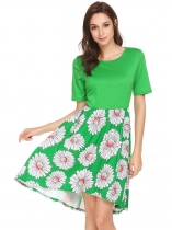 Green Women Casual O-Neck Short Sleeve Patchwork Prints A-Line Pleated Sexy Dress