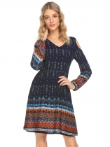 Navy blue Boho V-Neck Cold Shoulder Long Sleeve Print Casual Dress