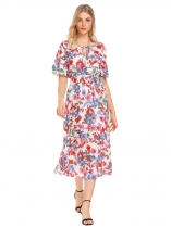 Pattern 1 Women Vintage Style Beach V-Neck Short Sleeve Printed Floral Dress