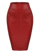 Red Women Sexy High Waist Faux Leather Split Club Party Pencil Skirt
