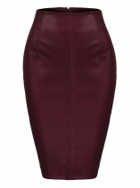 Wine red Women Sexy High Waist Faux Leather Split Club Party Pencil Skirt
