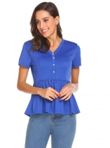Royal Blue Women V-Neck Short Sleeve Button Décor Casual Slim Fit Peplum Top