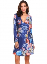 Blue Women Surplice Wrap Split V Neck Long Sleeve Lace Up Floral Print A-Line Dress