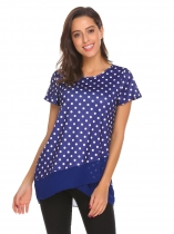 Royal Blue Frauen Layered O Hals Kurzarm Polka Dot Netz Patchwork T-Shirt