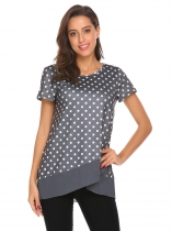 Gray Women Layered O-Neck Short Sleeve Polka Dot Mesh Patchwork T-Shirt