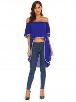 Royal Blue Women Fashion Off the Shoulder Half Sleeve Contrast Color Crop Tops