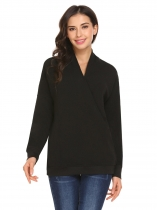 Black Women Fashion V-Neck Long Sleeve Solid Button Cardigan