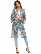 Pattern Women Casual Front Open Long Sleeve Loose Split Hem Chiffon Cardigan