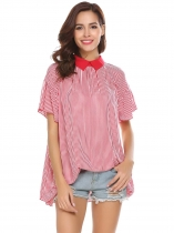 Pink Women Casual Turn-down Collar Ruffle Short Sleeve Striped T-shirt Tops