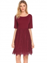 Wine red Women Short Sleeve O-Neck Lace Patchwork High Waist Solid Dress