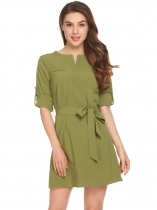 Army green Notched V Neck Long Sleeve Cuffed Sleeves Shirt Dress with Belt