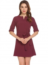 Wine red Notched V Neck Long Sleeve Cuffed Sleeves Shirt Dress with Belt