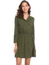 Dark green Women V-Neck Roll-Up Cuffed Sleeves Button Front Ruched Shirt Dress With Belt
