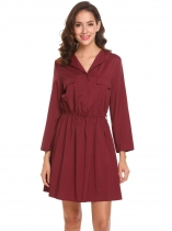 Wine red Women V-Neck Roll-Up Cuffed Sleeves Button Front Ruched Shirt Dress With Belt