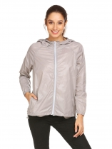 Light gray Women Lightweight Outdoor Anti UV Quick Dry Thin Skin Zip Up Solid Hooded Jacket