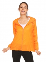 Orange Women Lightweight Outdoor Anti UV Quick Dry Thin Skin Zip Up Solid Hooded Jacket