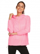 Pink Women Lightweight Outdoor Anti UV Quick Dry Thin Skin Zip Up Solid Hooded Jacket