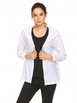 White Women Lightweight Outdoor Anti UV Quick Dry Thin Skin Zip Up Solid Hooded Jacket