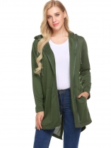 Verde do exército Mulheres com capuz Zip Up Solid Asymmetrical Casual Loose Long Coat with Pocket