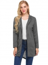 Gray Women Hooded Zip Up Solid Asymmetrical Casual Loose Long Coat with Pocket