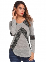 Gray Women Round Neck Lace Patchwork Curved Hem Causal Loose Pullover Sweater