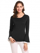 Black Women O-Neck Bell Sleeve Patchwork Slim Fit Casual T-Shirt Top