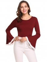 Wine red Women O-Neck Bell Sleeve Patchwork Slim Fit Casual T-Shirt Top