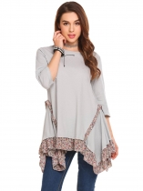 Grey Gray Women 3/4 Sleeve Irregular Floral Ruffles Hem Casual Loose Fit Tunic Top
