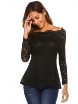 Black Women Off Shoulder Long Sleeve Floral Lace Slim Fit Blouse Top