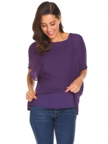 Purple Women Batwing Sleeve Irregular Casual Loose Fit Chiffon Blouse Top with Tank