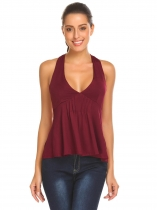 Wine red Women Sexy Halter V-Neck Pleated Front Backless Slim Fit Tank Top