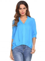 Blue Women Casual V-Neck Half Sleeve Solid Chiffon Blouse