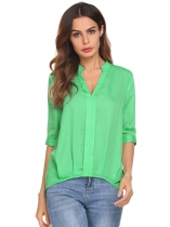 Green Women Casual V-Neck Half Sleeve Solid Chiffon Blouse