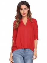 Red Women Casual V-Neck Half Sleeve Solid Chiffon Blouse