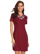 Wine red Women Notch Neck Short Sleeve Embroidered Business Party Sheath Dress