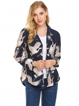 Navy blue Femmes revers à manches longues Imprimer Asymétrique Casual Loose Fit Button Down Shirt