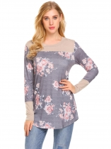Grey Women Round Neck Long Sleeve Floral Casual T-Shirt Blouse Tops