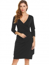 Black V-Neck 3/4 Sleeve Wrap Lace Up Side Draped Going Out Dress